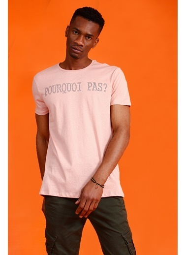 Collezione Collezione Bisiklet Yaka Yazı Detaylı Somon Erkek T-Shirt Somon